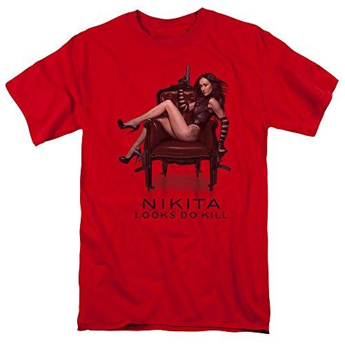 - Trevco Men's Nikita Sitting Adult Short Sleeve T-Shirt, red 4X-Large