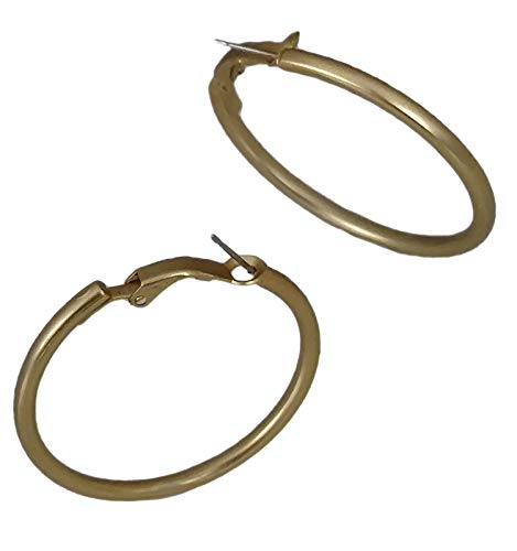Pierced Earrings Matte Gold Tone Plain Hoop 1 1/2