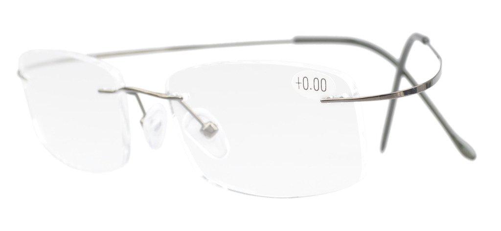 daa8532a5d73 Amazon.com: Eyekepper Titanium Rimless Reading Glasses Readers Men ...