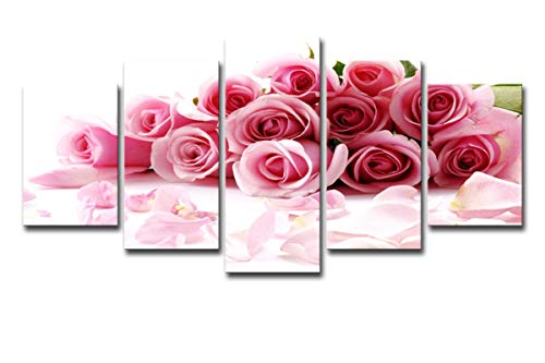 (Mytinaart Art - Lily Flowers Paintings On Canvas Modern HD Prints Posters Home Decor Living Room Wall Art 5 Pieces Pink Roses Bouquet Painting Flowers Petal Pictures - Unframed Price only print canvas)