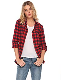 Meaneor Womens Casual Long Sleeve Boyfriend Plaid Button Down Flannel Shirts Tops