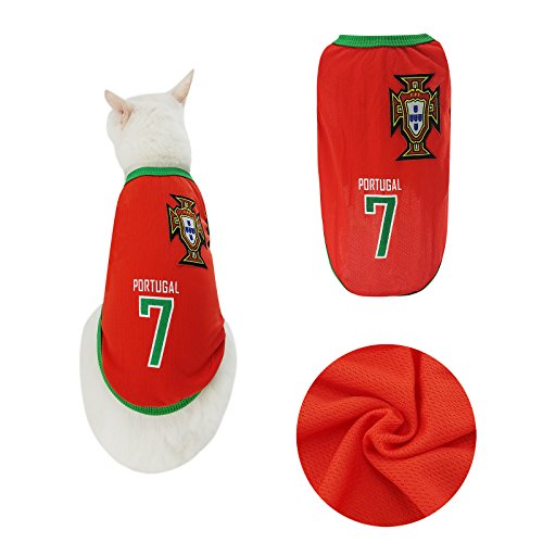 Yizhi Miaow Dog Soccer Jersey World Cup Pet T-Shirt-Dog Costume to Celebrate The Russia 2018 FIFA Portugal Team Dog/Cat Shirt Jerseys Size XS for Kittens,Tiny Dogs