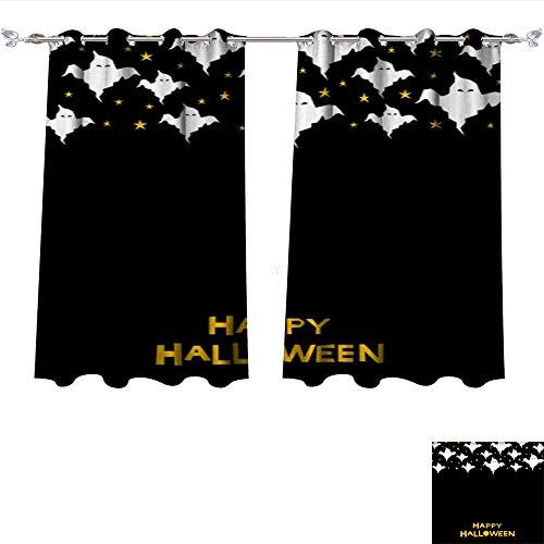 Printed Blackout Curtain Happy Halloween Card Template 4 Grommet Window Curtain Drape Panels W55 x L63/Pair ()