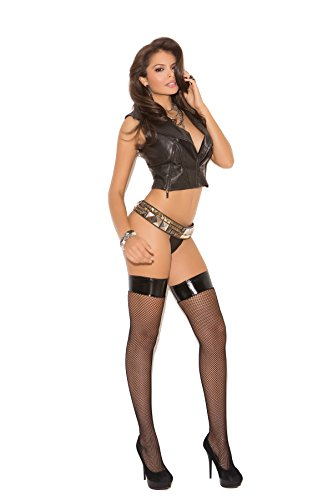 Elegant Moments Vinyl Collection (1769 Women's Fishnet Thigh Hi With Vinyl Top_Black_One Size)