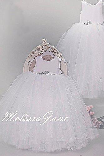 White Full Tulle Flower Girl Dress by MelissaJaneDesigns