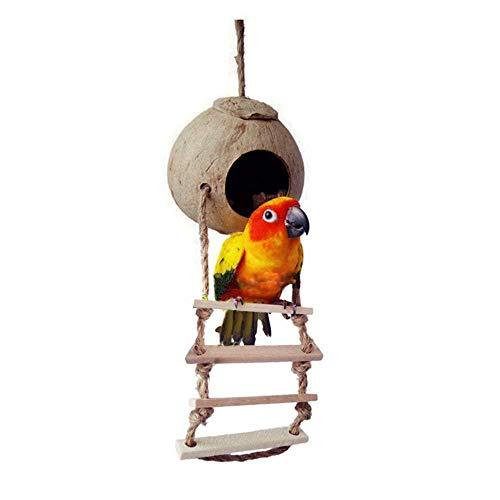 JLCYYSS Natural Coconut Shell Bird Nest House Bed For Pet Parrot Parakeet...