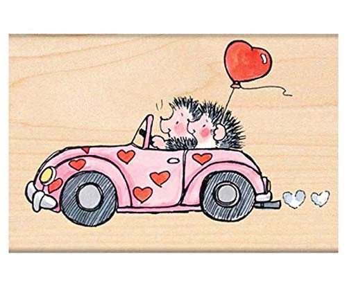Hedgehogs in Car - Rubber Stamp On Wood (1ks), Penny Black, Inc, Rubber, Stamps, Scrapbooking Paper