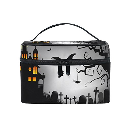 ALIREA Spooky Halloween Background Cosmetic Bag Travel Makeup Train Cases Storage Organizer -
