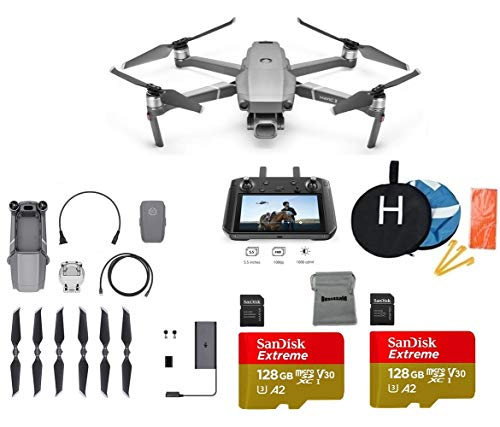 DJI Mavic 2 Pro with DJI Smart Controller Drone Collapsible Quadcopter Bundle with 2X 128GB SD Card Supports 4K Video, Landing Pad