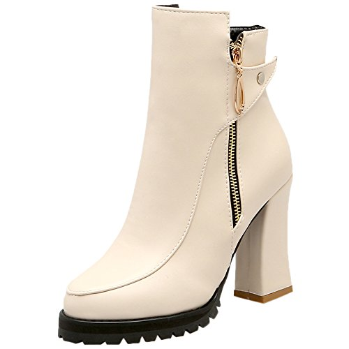HooH Women Ankle Boots Pointed Toe Combat Platform High H...