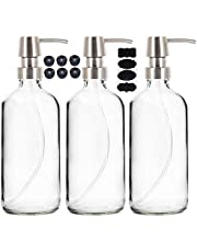 Youngever 3 Pack 16 Ounce Clear Glass Boston Round Bottles with Stainless Steel Pumps, Glass Soap Dispensers with Extra Labels and Lids, Great for Essential Oils, Lotions, Liquid Soaps