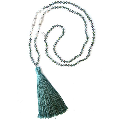 KELITCH New Long Tassel Strands Necklace Pearl Crystal Beaded Necklace Handmade Bib Shining Y-Shape Necklace (Green O)