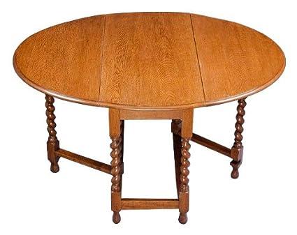 amazon com oak barley twist gate leg table kitchen dining
