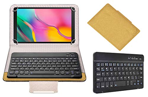 Acm Wireless Bluetooth Keyboard Case Compatible with Samsung Galaxy tab a 10.1 (2019) sm-t515nzkdinu Tablet Flip Cover Stand Study Gaming Gold