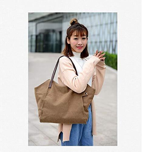 Informal Lona para de de Gris Gran Wei única marrón Capacidad Mano Mujer niña fei Bolso Talla Estilo de Mujer qXXYgzw