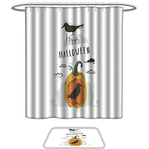 Shower Curtain Floor Mat Set of 2Hand drawn vector abstract cartoon Happy Halloween illustrations party design elements with ravens pumpkin and modern calligraphy quote Happy Halloween isolated on