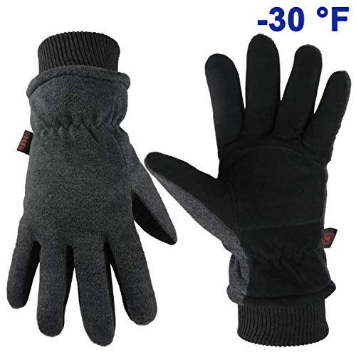 OZERO Warm Gloves Windproof Winter Thermal Glove - Driving Cycling Warm in Cold Weather for Men and Women (Medium,Gray)