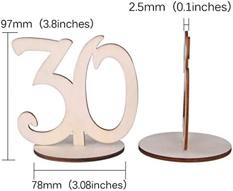 eZAKKA Table Numbers 21-30 Wood Wooden Wedding Table Numbers with Holder Base for Wedding Party Home Decoration Vintage Birthday Event Banquet Anniversary Decor Catering Reception