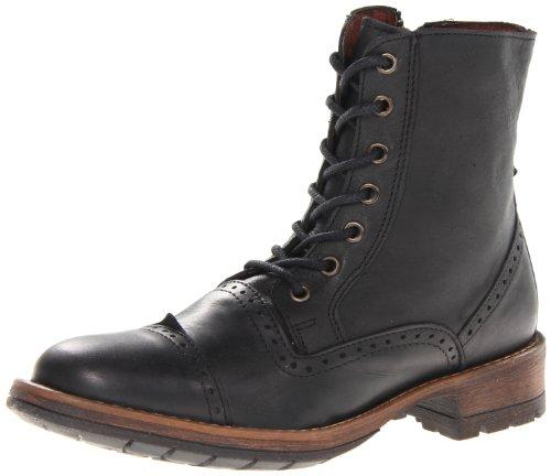 Steve Madden Men's Nathen Combat Boot,Black Leather,8 M US