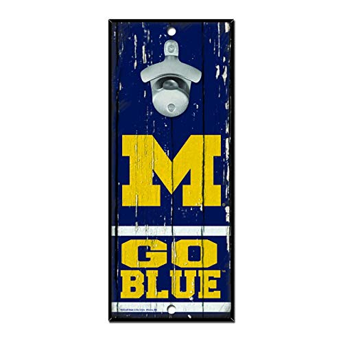 WinCraft NCAA Michigan Wolverines 5x11 Wall Hanging Bottle Opener,Blue,5