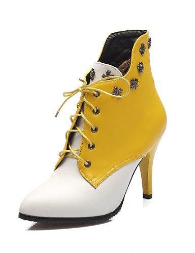 Trabajo us8 Uk8 Noche Oficina Semicuero Eu42 Stiletto Tacón 5 Fiesta us10 Casual Zapatos 5 Eu39 Cn39 Red Yellow Botas Amarillo Cn43 Uk6 Mujer negro Xzz Puntiagudos Y De w7zO4AqT