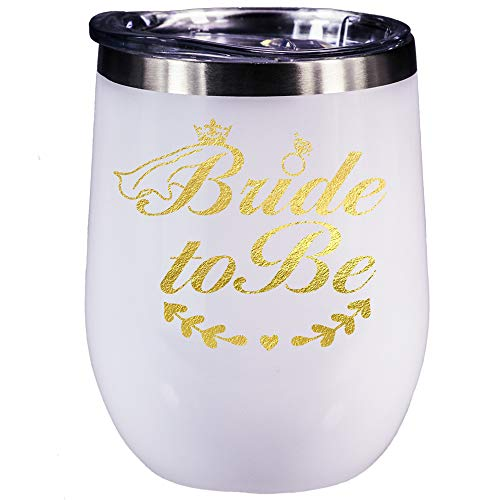 Bridal Shower Gifts? Engagement Gifts Wedding Bride To Be Bachelorette Wine Glasses 12 oz Stainless Steel