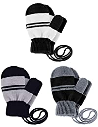 3 Pairs Toddler Magic Stretch Mittens Full Finger Knit Gloves Winter Warm Mittens (Color Set 4)