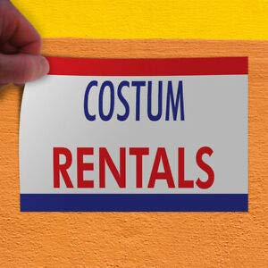 KARPP Decal Sticker Costume Rentals Business Banners Costume rentals Store Sign White (7 inch x 5 inch) for Home, Car Bumper, All Weather Indoors -