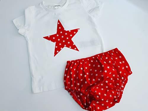 cubrepañal ranita bebe estrellas rojo y blanco tela algodón 100% con la posibilidad de adquirir camiseta a juego: Amazon.es: Handmade