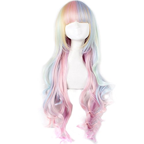 Blanna 28 Long Natural Wavy Lolita Cosplay Wigs Heat-Resistant Synthetic Wigs for Women and Girls(Light Blue-light yellow-light Pink)
