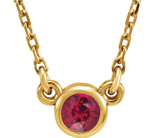 Chatham Created Ruby 14k Yellow Gold Pendant Necklace, 16