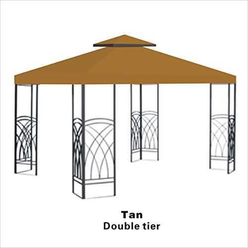 BenefitUSA 10'X10' Replacement Gazebo Top Canopy Patio Pavilion Cover Sunshade Plyester Double Tier -TAN (2 Tier Gazebo)