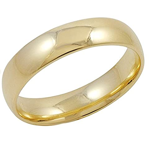Men's 10K Yellow Gold 5mm Comfort Fit Plain Wedding Band (Available Ring Sizes 8-12 1/2) Size 12.5 (10k Gold Ring Size 5)