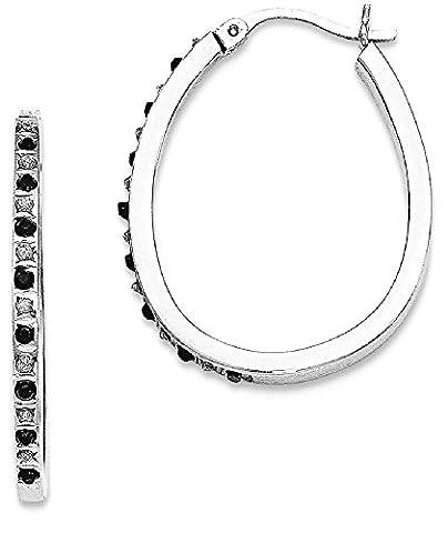 IceCarats 925 Sterling Silver Black White Diamond Pear Hinged Hoop Earrings Ear Hoops Set For Women - I1 Pear Earrings