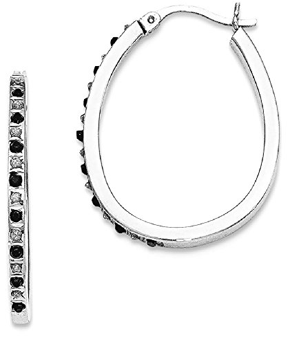 ICE CARATS 925 Sterling Silver Black White Diamond Pear Hinged Hoop Earrings Ear Hoops Set Fine Jewelry Gift Set For Women Heart by ICE CARATS