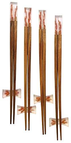 Amazing Grace Resin-Wood Chopsticks with Rests Gift Set (4, Orange Wheat) by Amazing Grace Elephant Company Limited