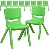 Flash Furniture 10 Pack Green Plastic Stackable