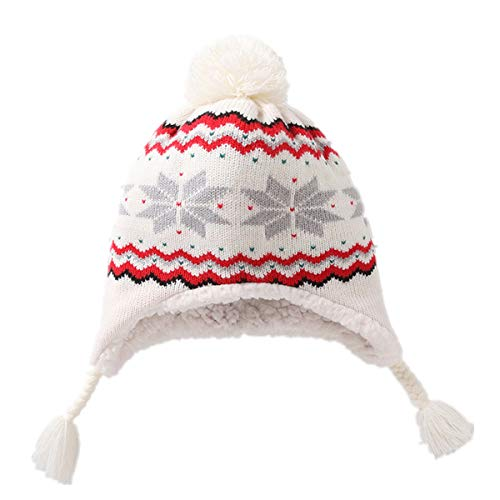 Snowflake Earflap Knit Hat - Kids Baby Toddler Cable Knit Children¡¯s Pom Hat Beanie Classic Snowflake Printed with Earflap Beanie Hat White 0-6 Month