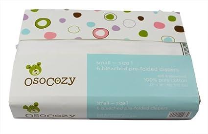 OsoCozy - Pañales de tela predoblados (talla 1, 6 unidades)