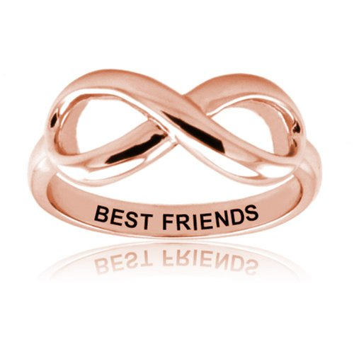 Sterling Silver Rose Gold Plated Best Friends Infinity Ring, Size 4.5