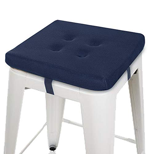 baibu Super Breathable Square Chair Pads Seat Cushions (Navy Blue Velcro, 14
