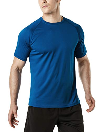 Price comparison product image TSLA Men's HyperDri Short Sleeve T-Shirt Athletic Cool Running Top MTS Series,  Athletic Short Sleeve(mts30) - Navy,  2X-Large.
