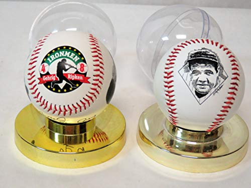 MLSP Sold Together Cal Ripken Jr. & Lou Gehrig Commemorative Baseball Ironmen of Baseball and Babe Ruth Fotoball Commemorative Edition Baseball