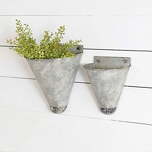 PD Home Hanging Metal Cone Wall Vases - Set of 2 - Farmhouse Style]()
