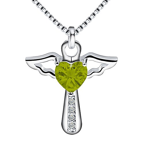 Ckysee Necklaces for Women Girls Cross Cubic Zirconia Angel Wing Birthstone Heart Charm Pendant Necklace August- Peridot