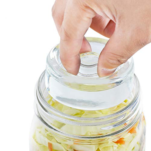 6-Pack Easy Fermentation Glass Weights with Handles for Keeping Vegetables Submerged During Fermenting and Pickling, Fits for Any Wide Mouth Mason Jars, FDA-Apporved Food Grade ()