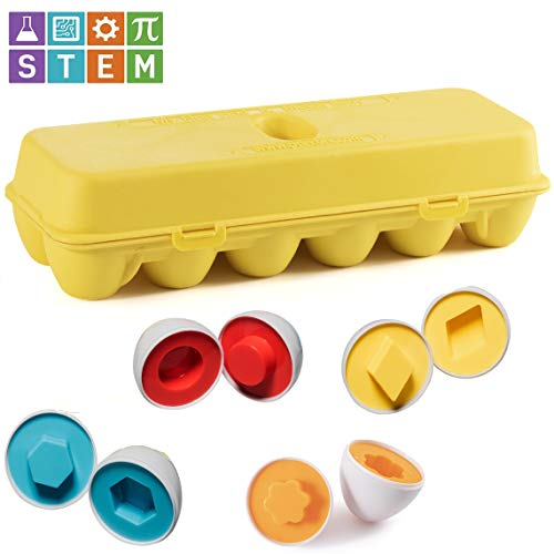 Prextex My First Find and Match Easter Matching Eggs with Yellow Eggs Holder - STEM Toys Educational Toy for Kids and Toddlers to Learn About Shapes and Colors Easter Gift by Prextex (Image #4)