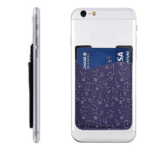 Horoscope Signs And Constellations Cosmic Galactic Movement PU Leather Cell Phone Wallet/Pocket/Card Holder Game Mobile Phone Card Package 3M Adhesive Ultra Slim Back Phone Pocket For Most Smartphones ()