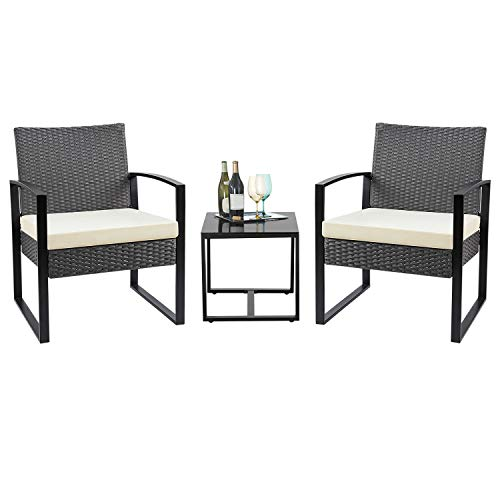 Flamaker 3 Pieces Patio Set Outdoor Wicker Patio Furniture Sets Modern Bistro Set Rattan Chair Conversation Sets with Coffee Table for Yard and Bistro (Grey and Cream) (Yard Furniture Cushions)