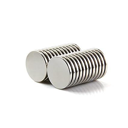 Sunkee 10pcs Pequeño y redondo imanes de disco de diámetro 20x2mm N50 Súper Potente resistente Imán